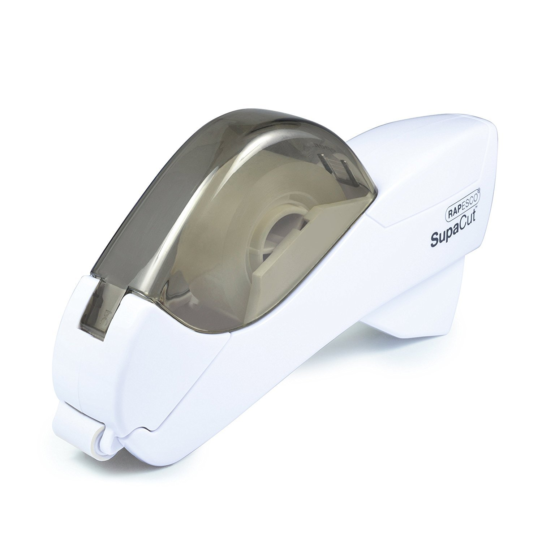 Rapesco 1445 SupaCut Tape Dispenser with 2 Tape Rolls - White