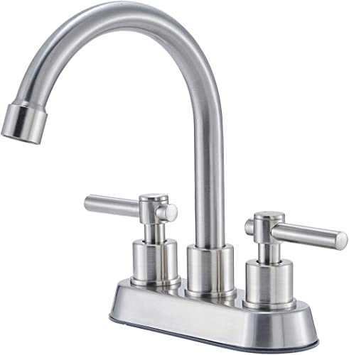 Hotis Commercial Two Handle Brushed Nickel Bathroom Faucet, Vanity Faucet without Water Supply Lines