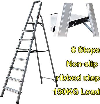Escalera de aluminio de 8 peldaños, 2,1 m de altura, plegable, ligera, portátil, capacidad de 150 kg: Amazon.es: Bricolaje y herramientas
