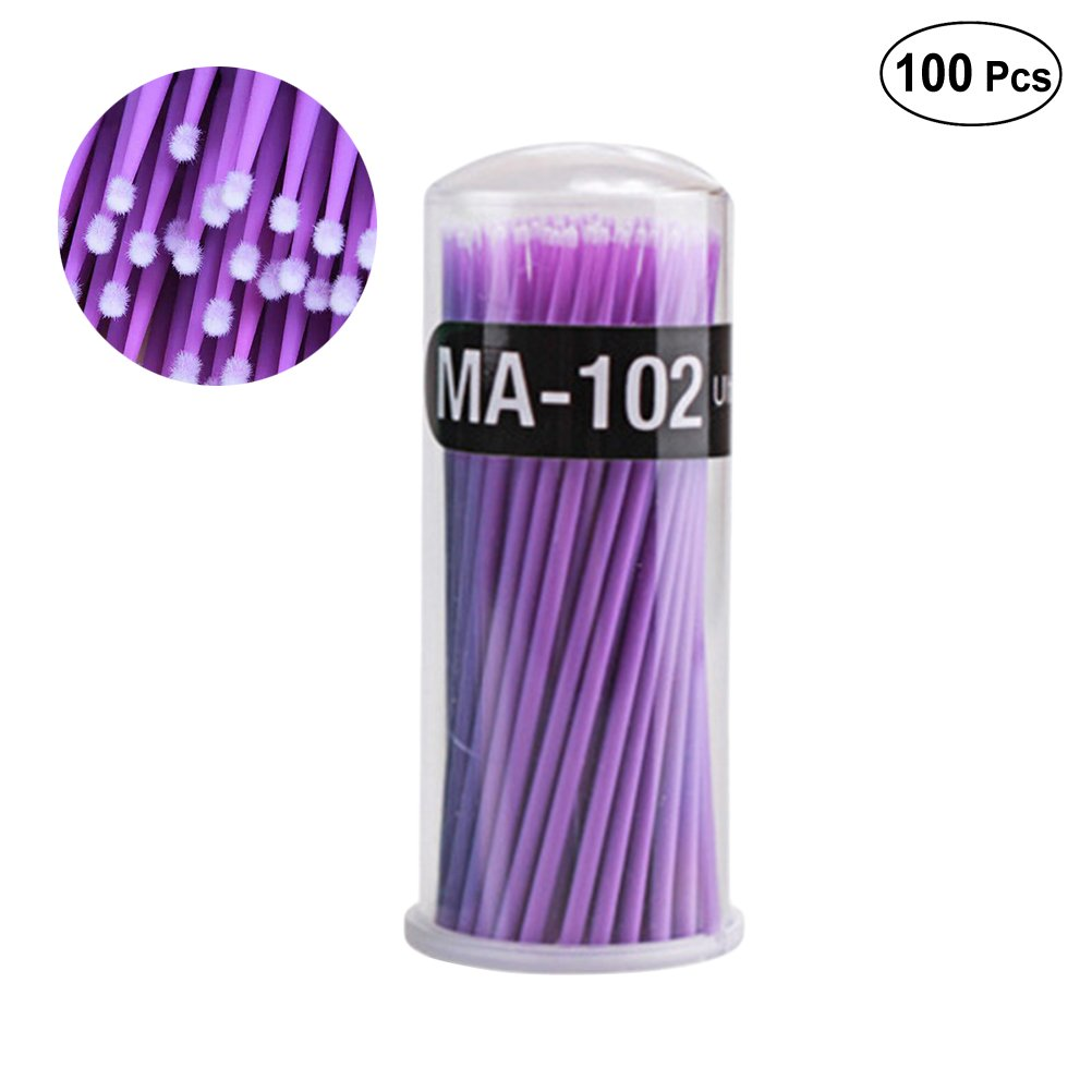 Frcolor 100pcs Eyelash Extension Cotton Swab Disposable Micro Applicator Brushes Mascara Brush Wands (Purple Small Size)