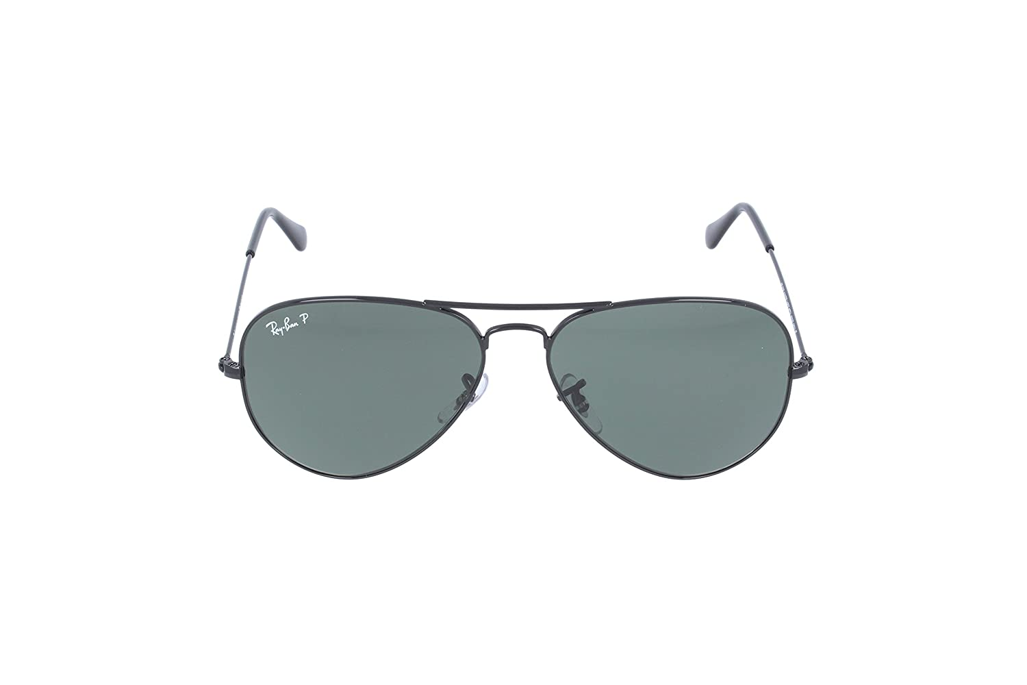 318cde2f8f4 Amazon.com  Ray-Ban AVIATOR LARGE METAL - BLACK Frame CRYSTAL GREEN  POLARIZED (004 58) Lenses