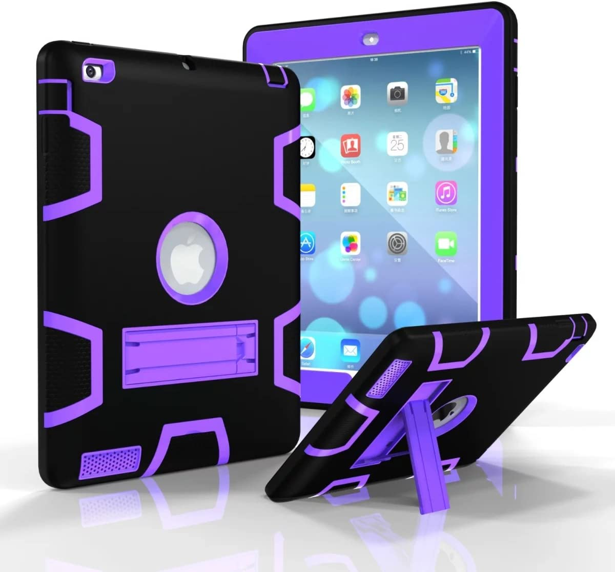 Jaorty iPad 2/3/4 Case,iPad 2/3/4 Retina Case, 3 in 1 Hybrid [Soft&Hard] Heavy Duty Rugged Stand Cover Shockproof Anti-Slip Anti-Scratch Full-Body Protective Cases for iPad 2/3/4, Black/Purple