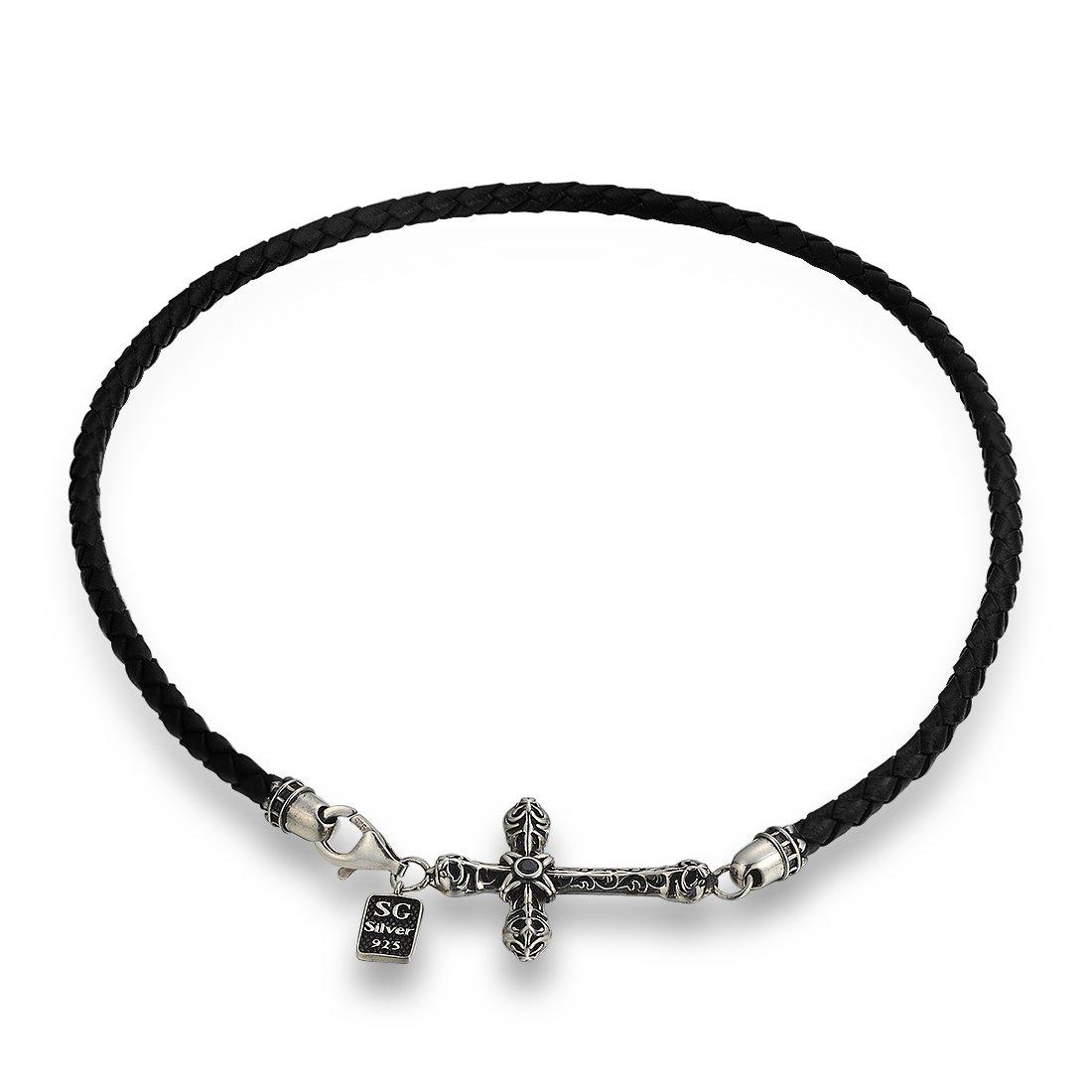 Santuzza Vintage Style Sideways Cross Leather Braided Bracelet Bangle for Women Men Sterling Silver Genuine Leather Braided Double Strap
