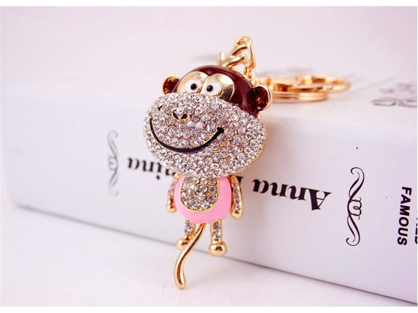 Car Keychain, Cute Diamond Long Tail Monkey Keychain Animal Shape Key Trinket Car Bag Key Holder Decorations(Pink) for Gift