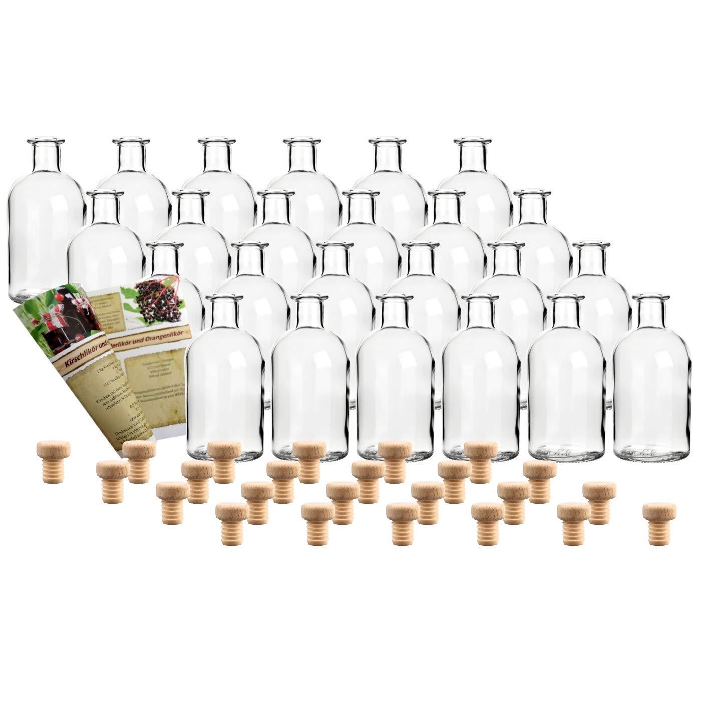 Lik/örflasche Holzgriffkorken gouveo 12er Set Flasche Apotheker 100 ml inkl Schnapsflasche
