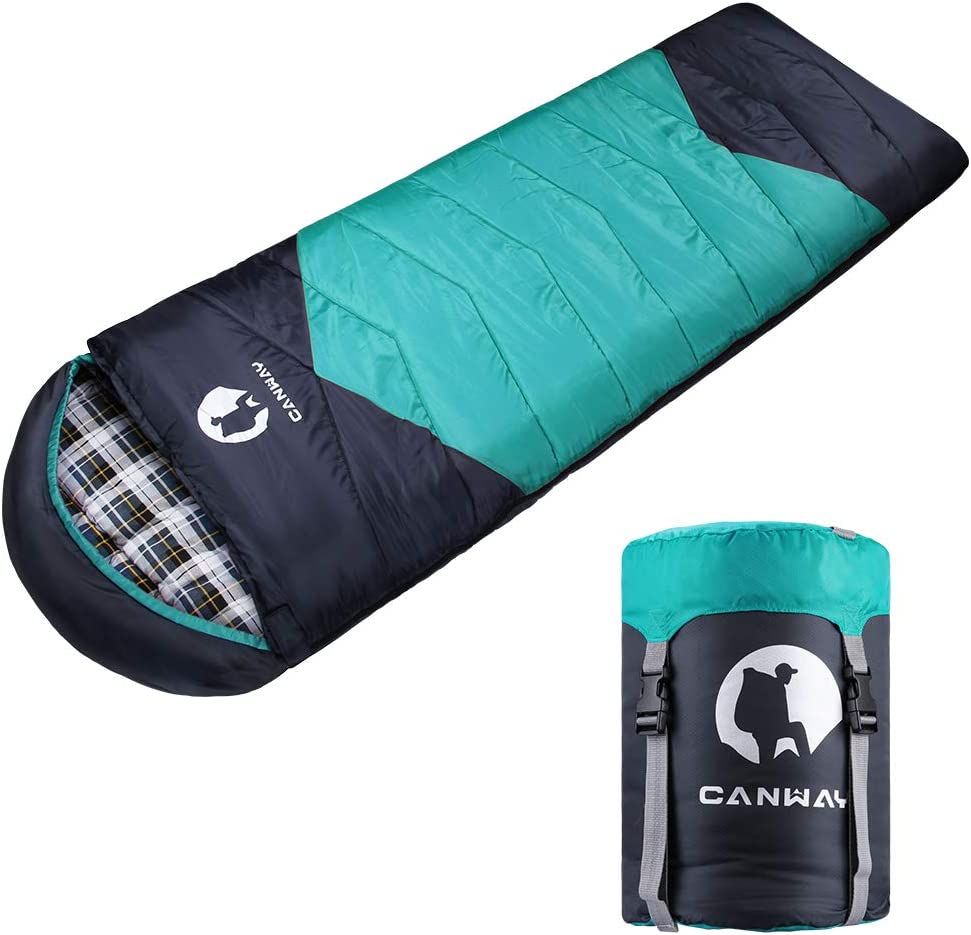 CANWAY Sleeping Bag with Compression Sack, Lightweight and Waterproof for Warm Cold Weather, Comfort for 4 Seasons Camping Traveling Hiking Backpacking, Adults Kids