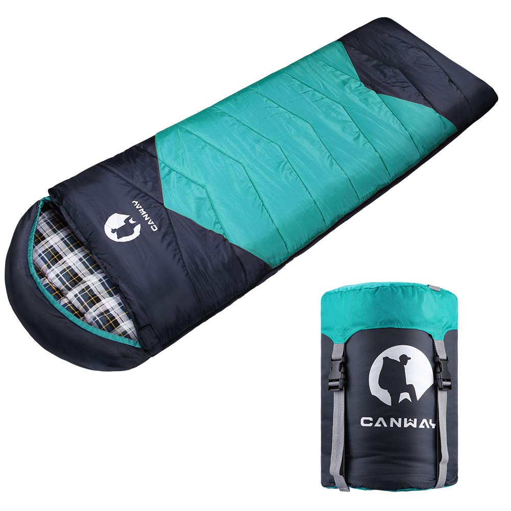 CANWAY Sleeping Bag with Compression Sack, Lightweight and Waterproof for Warm & Cold Weather, Comfort for 4 Seasons Camping/Traveling/Hiking/Backpacking, Adults & Kids by CANWAY