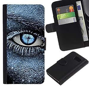 iBinBang / Flip Funda de Cuero Case Cover - Frost Black Blue Deep Meaning Clean - Samsung Galaxy S6 SM-G920