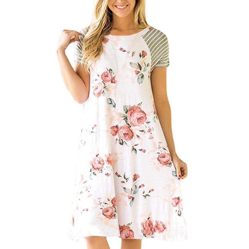 Goodtrade8 New Fashion Women Floral Print Short Sleeve Loose Fit Dress Short Sundress (M, White)