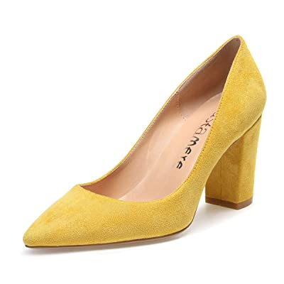 CASTAMERE Womens High Heel Pointed Toe Slip-on Pumps 8CM Suede Yellow Shoes 8 M US | Pumps