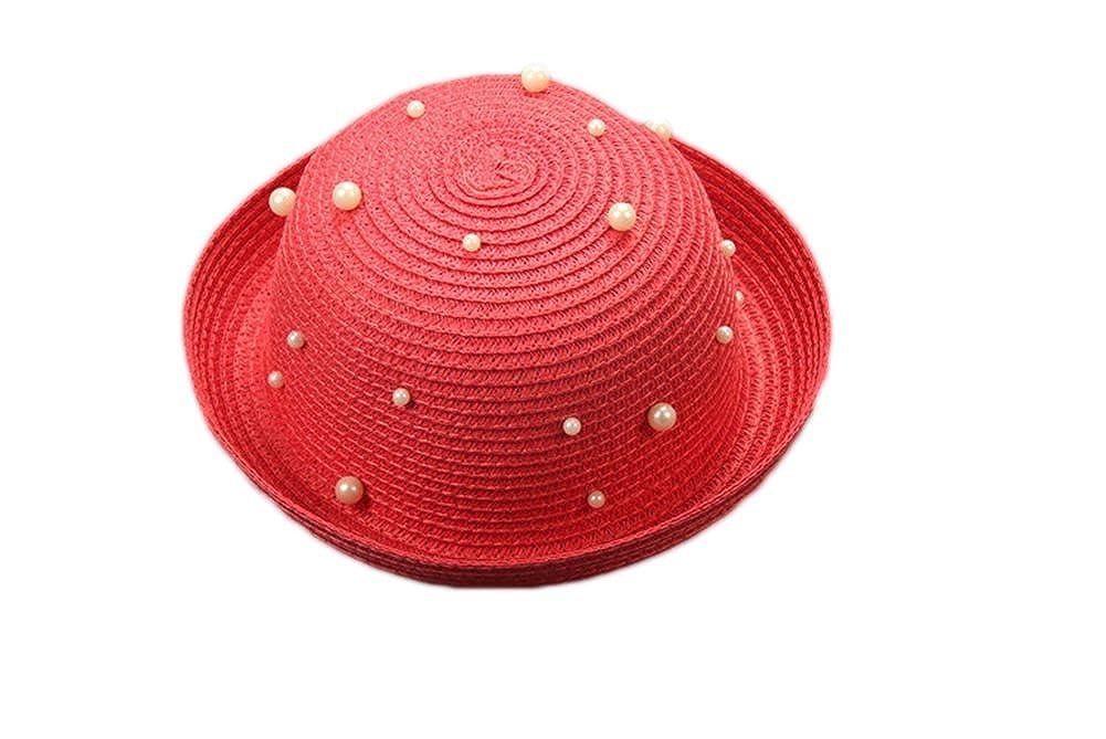 Leisial Sombrero del Sol de Playa para Niños Redondo Sombrero de Paja Perla  Color Sólido Estilo f9b7b04b548
