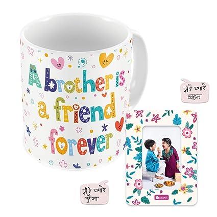 Indi ts Rakhi for Brother with Gift Friend Printed Coffee Mug 330 ml Magnet Rudraksha Rakhi & Roli