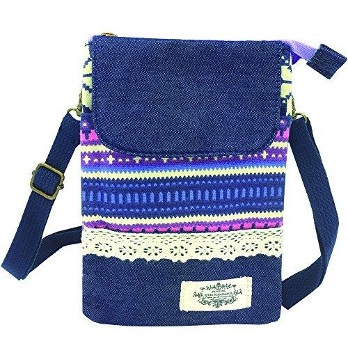 La Derkia Mehrfunktional Reißverschluss Damen Mädchen Leinwand Schultertasche kleine Tasche Umhängetasche Reißverschluss Handtasche Geldbörse Handy-Tasche (PurpurnStreifen) PurpurnStreifen
