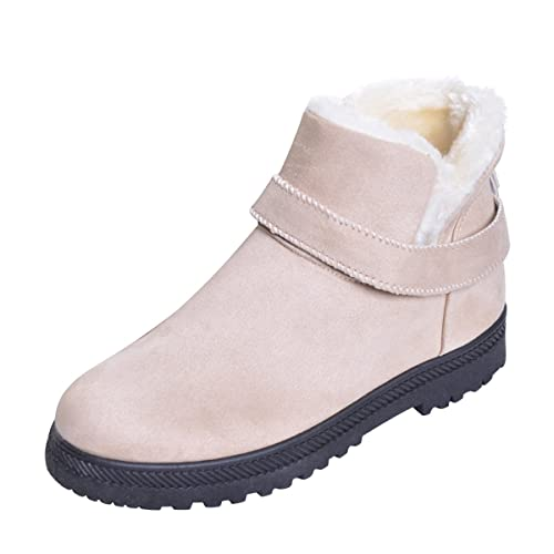 Hee grand Women s Flat Ankle Boots Warm Fur Snow Boots Winter Shoes Beige  5.5 726015fa11