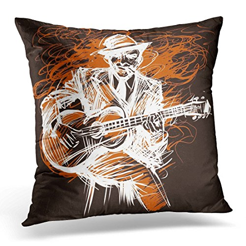 JULYE Throw Pillow Covers Black Music Guitarist Guitar Player Blues Man with Expression Electric and Jazz Rock N Roll Abstract Decorative Pillow Case Home Decor Square 18W X 18L Pillowcase -