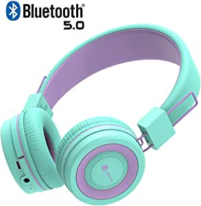 iClever Kids Bluetooth Headphones - Headphones for Kids with MIC, Volume Control Adjustable Headband, Foldable - Childrens Headphones on Ear for iPad Tablet Kindle Airplane School,Green/Purple