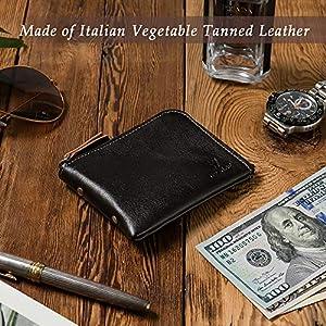 YBONNE Donna Nuovo cuoio Minimalista Premium Piccolo raccoglitore per le donne e gli uomini con la chiusura lampo, in pelle Italiana Conciata al Vegetale