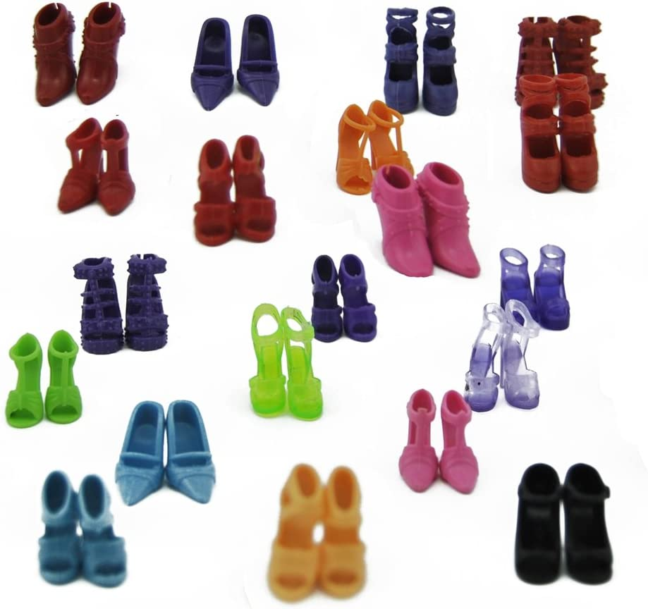 E-TING Ensembles De 5 5 V/êtements Tenue 5 Pantalons et 10 Shoes Pantalons pour Poup/éE Barbie Hasard Style