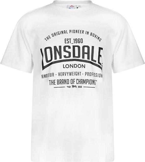 TALLA M. Lonsdale - Camiseta de manga corta para hombre, cuello redondo, camiseta de estilo deportivo