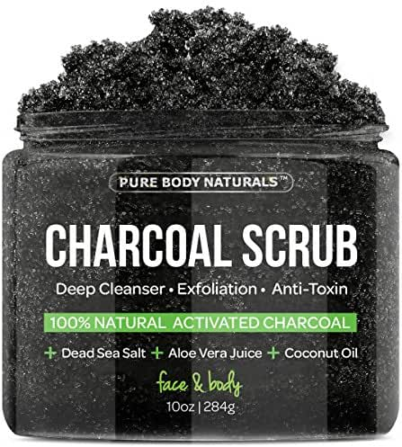 Charcoal Scrub with Coconut Oil - 10 oz. Facial Scrub, Pore Minimizer & Reduces Wrinkles, Acne Scars, Blackheads & Anti Cellulite Treatment, Great as Body Scrub, Body & Face Cleanser