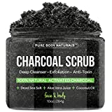 Coconut Oil Face Wash Charcoal Scrub with Coconut Oil - 10 oz. Facial Scrub, Pore Minimizer & Reduces Wrinkles, Acne Scars, Blackheads & Anti Cellulite Treatment, Great as Body Scrub, Body & Face Cleanser