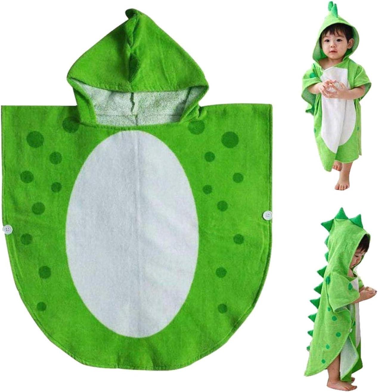 KANGIRU Sweat /à Capuche Serviette Enfants Serviette de Bain Robe Piscine Poncho Motif de Dinosaure Vert Blanc 55 cm x 110 cm