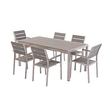 Beliani Aluminium Gartenmöbel Set Grau   Tisch 180cm   6 Stühle   Polywood    VERNIO