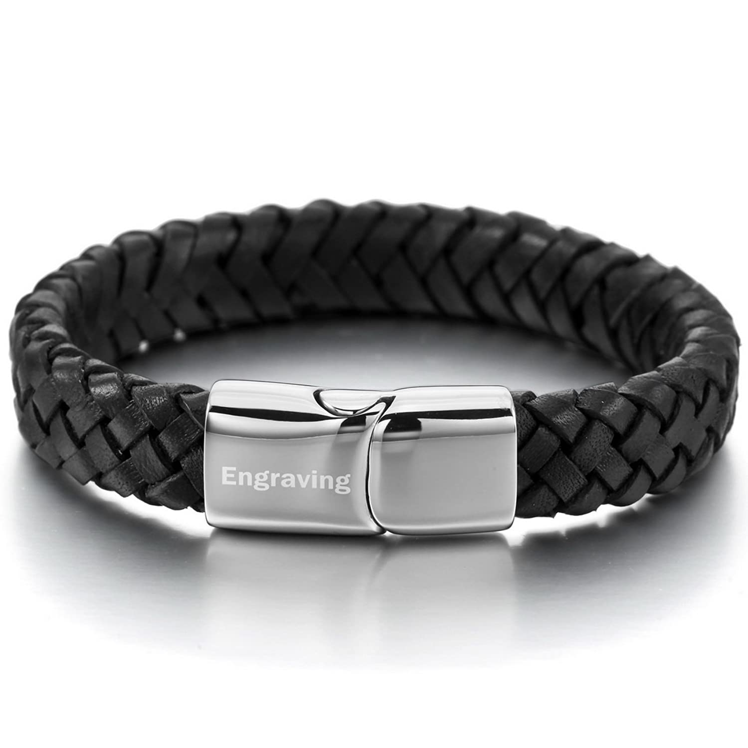 MeMeDIY Black Silver Tone Stainless Steel Genuine Leather Bracelet Bangle - Customized Engraving KtQQjCLehj