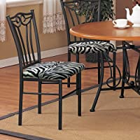 2 New Black Finish Metal Dining Chairs With A Black & White Zebra Faux Fur Padded Seat Cushion Theme!