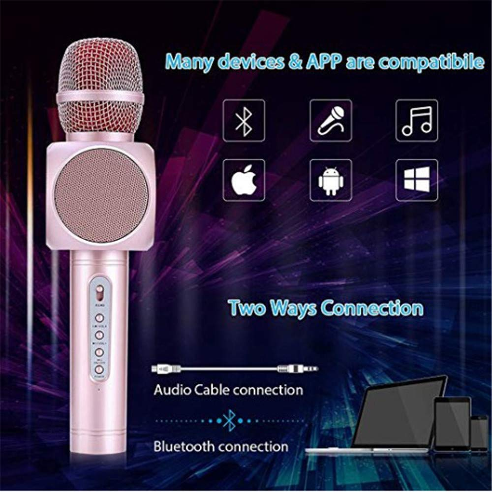 Wireless Karaoke Microphone 3 in 1 Portable Bluetooth Karaoke Player System with Two Built-in Speakers Compatible with Android & iOS for Home KTV Bar Party Muisc Playing Singing & Recording Wireless B by Xiuzhifuxie (Image #5)