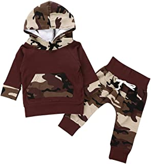 PLOT 2Pcs Newborn Baby Long Sleeve Camouflage Hooded+Pants Kids Clothes Outfit 0-2T