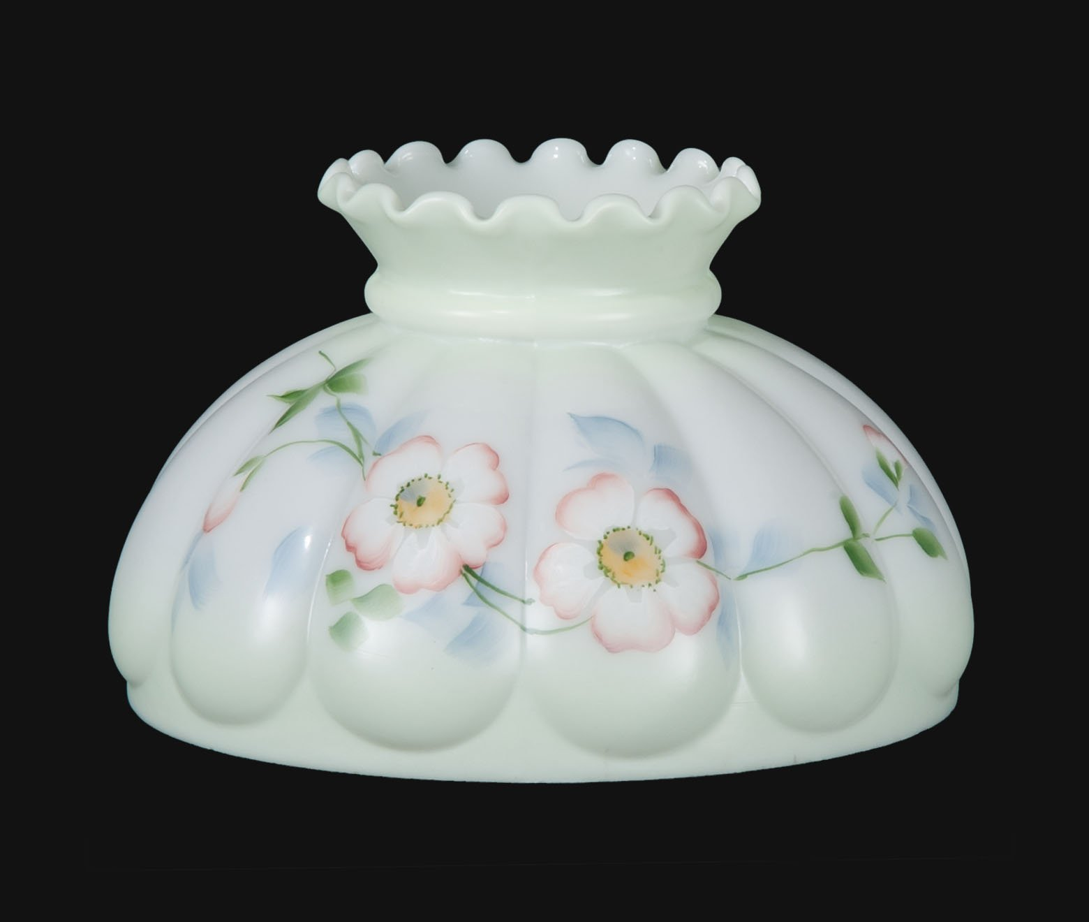 B&P Lamp Opal Melon Shade, Wild Roses Scene by B&P Lamp