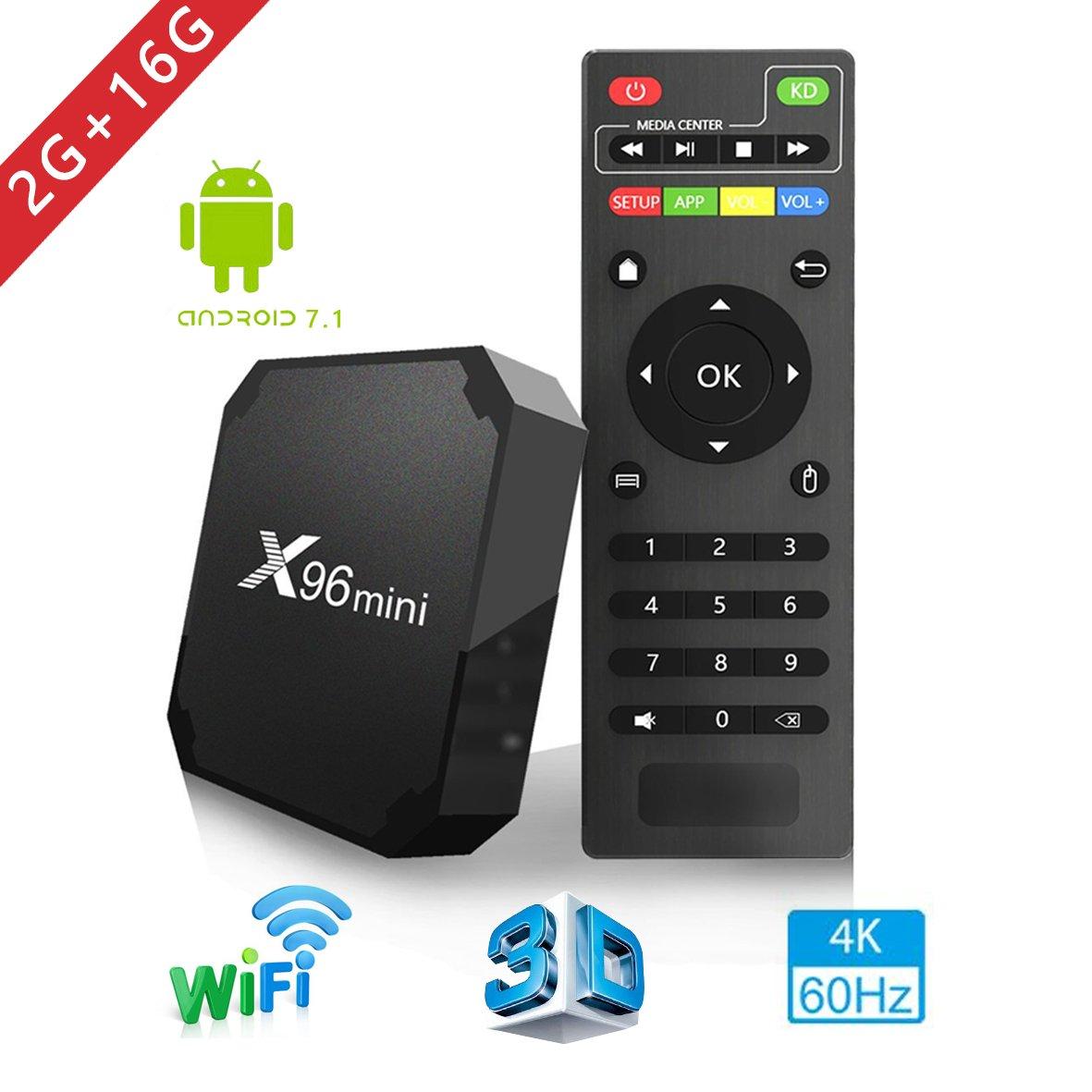 2018 Android TV Box - Smart TV Box with Quad Core X96 Mini Android 7.1 OS Amlogic S905W 3D/4K/HD Media Player 2GB 16GB/WiFi 2.4G X96 Mini TV Box