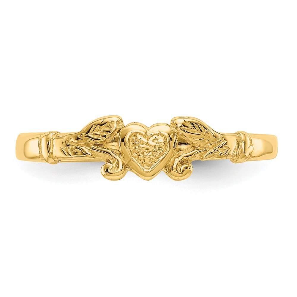 Qgold Baby and Children 14K Gold Heart Ring (Yellow-Gold)
