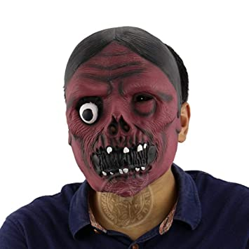 HOOLAZA Cosplay Scary Mask Fiesta de Halloween Latex Red Face ...