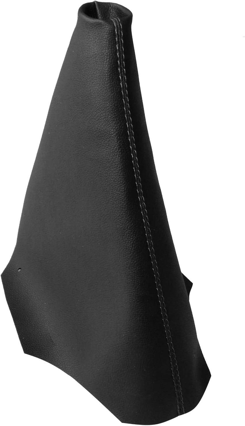 AERZETIX Funda para palanca de cambios de piel sint/ética con costuras de colores variables negro con costuras azul