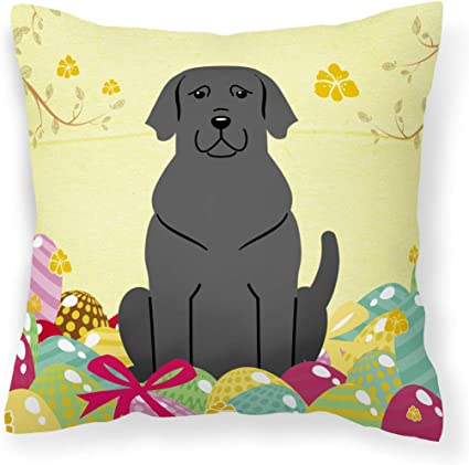 Caroline S Treasures Bb6057pw1414 Easter Eggs Black Labrador Fabric Decorative Pillow 14hx14w Multicolor Garden Outdoor