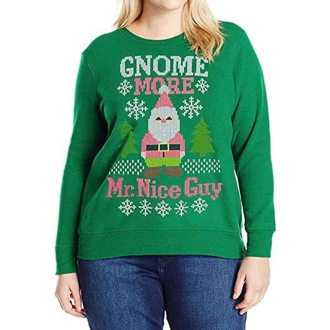 Battercake Sudaderas Mujer Otoño Invierno Elegante Manga Largo Cuello Redondo Navidad Impresión Casuales Mujeres Pullover Jumper Camisas Fashion Sudaderas ...