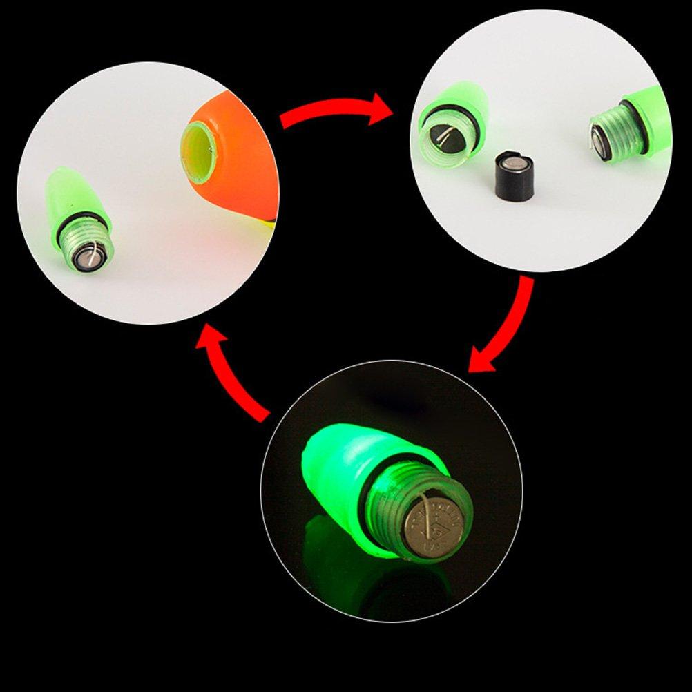 VORCOOL Flotadores Luminosos de Pesca Nocturna para Pescar con Bater/ía 20G