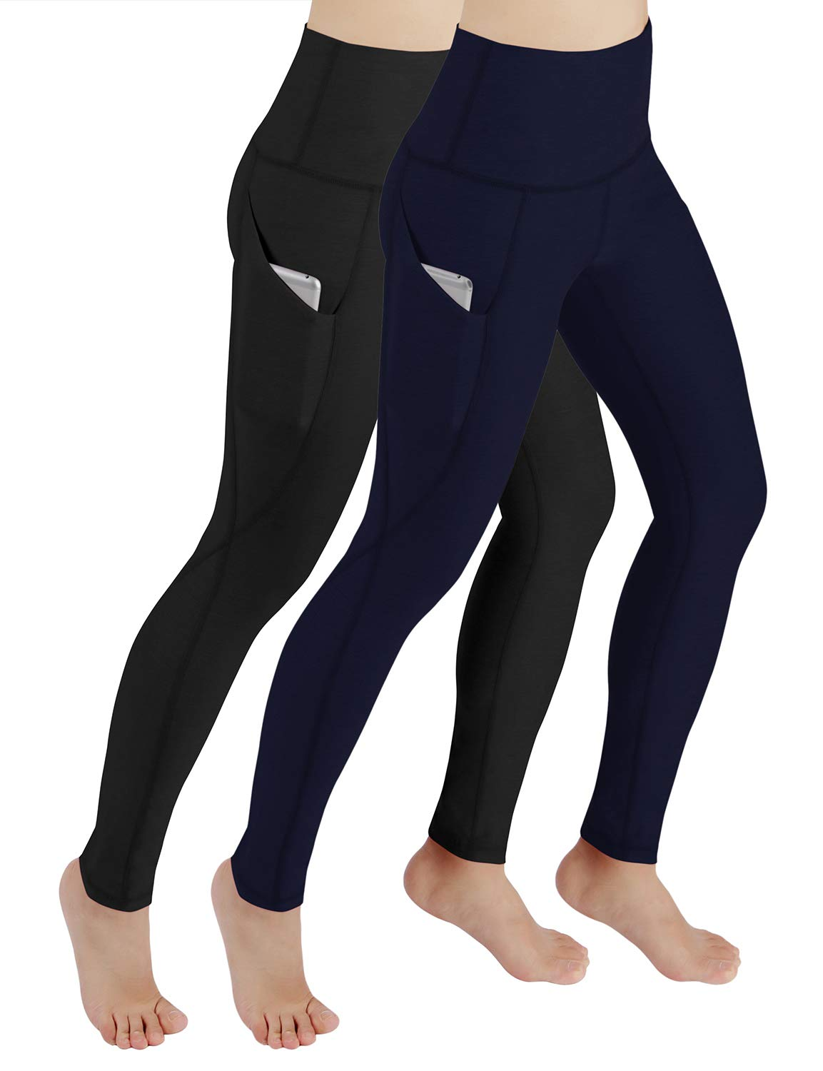 ODODOS Women's High Waist Yoga Pants with Pockets,Tummy Control,Workout Pants Running 4 Way Stretch Yoga Leggings with Pockets,BlackNavy2Pack,X-Small by ODODOS