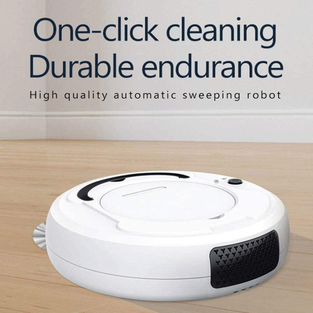 SMX Accueil Multifonctions IntelliDonnées étage, 3-in-1 Auto Rechargeable Intelligent Robot Balayer, Pet Hair Accueil Hard Floor et Basse Pile Tapis Robot (Color : White) White