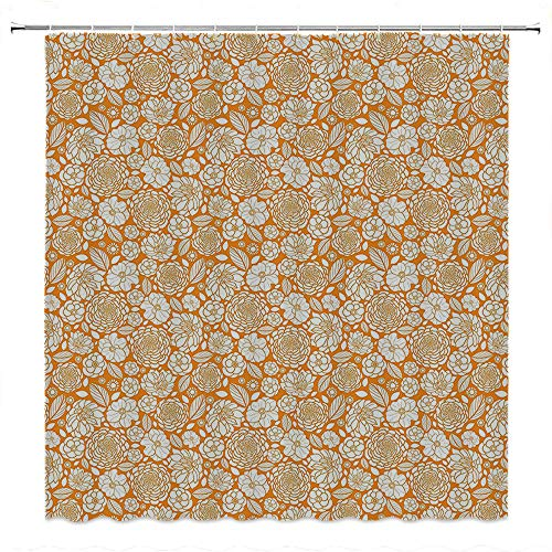 SATVSHOP Cloth Shower Curtain-Comes with Magnets at The bottomFloral Spring Summer House Garden Outside with Floral Detailed Leav Image Marigold and White.W36 x L72 inch