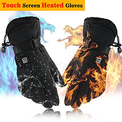 Autocastle Touch Screen Texting Rechargeable Electric Heated Gloves with Li-ion Batteries for Men and Women,Sports&Outdoors Glove Liners for Hiking Skiing Cycling (black, 3200mA Li-Po Battery)