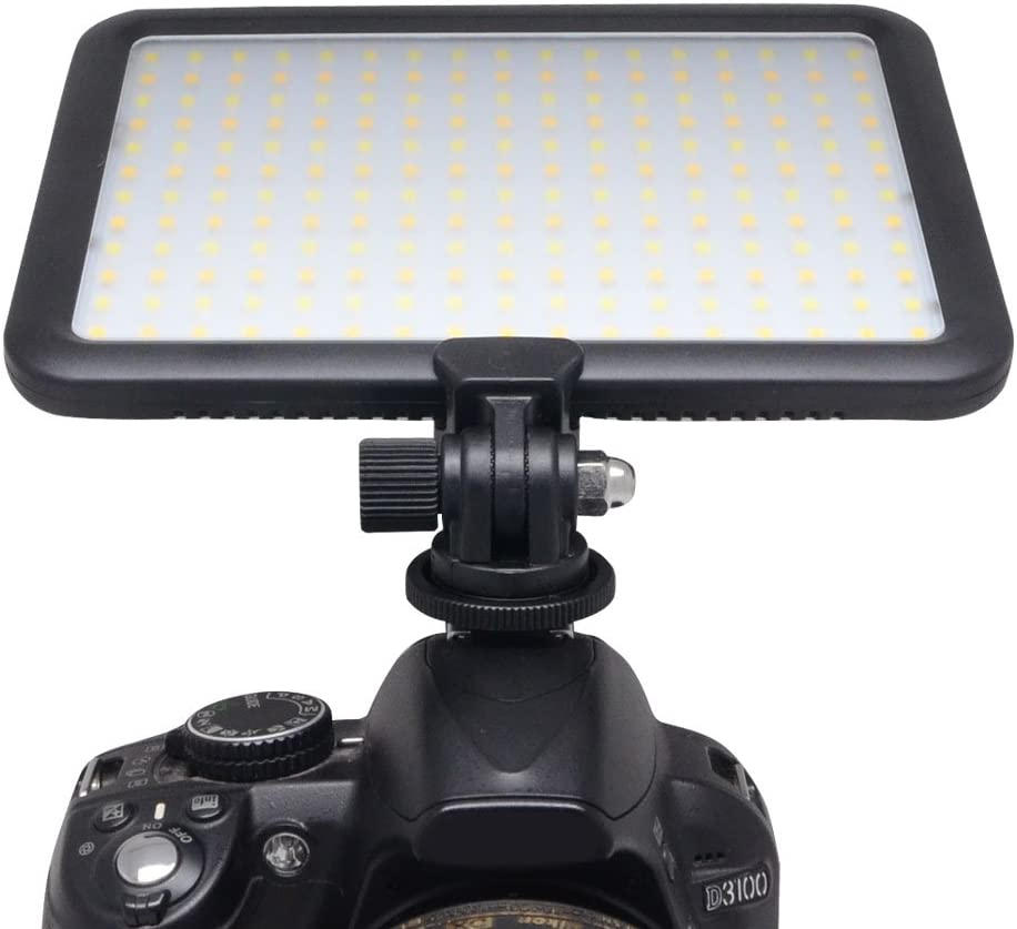 Mcoplus 0.6//1.5cm Ultra Thin 204-LED 10W 5600K//3200K LED Video Light Dimmable Flat Panel On-Camera Light Pad for Canon Nikon Sony Pentax Olympus Samsung Panasonic JVC DSLR Cameras DV Camcorders