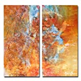 Ready2HangArt 2 Piece 'Abstract' Large Canvas Wall Art, 20'' High x 40'' Wide x 1'' to 2'' Deep, Orange/Yellow/Blue/Green