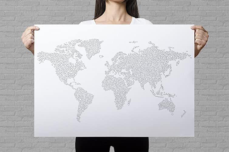Large world map poster to color in with intricate dots pattern for large world map poster to color in with intricate dots pattern for diy wall art or travel map amazon handmade gumiabroncs Images