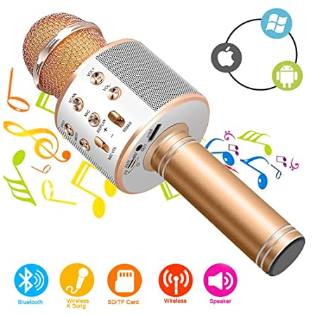 Micrófono Inalámbrico Karaoke Bluetooth con Altavoz, Portátil Karaoke Bluetooth Dispositivo de mano con altavoz para karaoke para niños adultos Casa ...