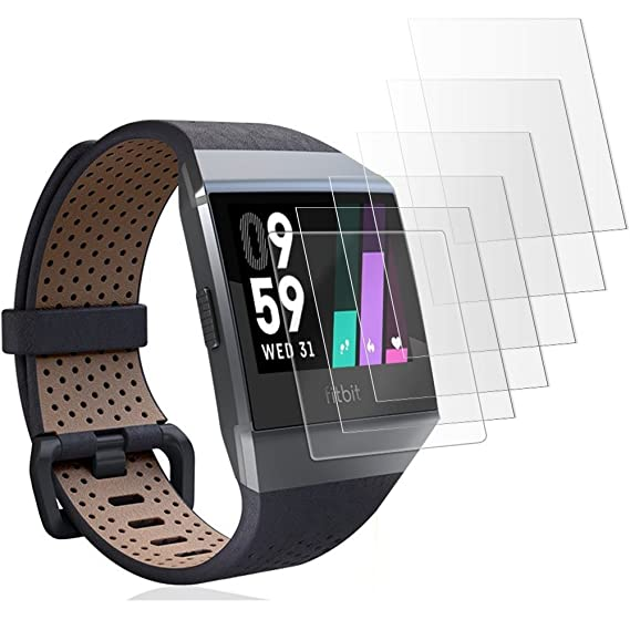 (6 Packs) Gzerma for Fitbit Ionic 2017 Screen Protector, [100% Full Coverage] [Anti Scratches] [Case Freindly] [High Definition] Ultra Clear TPU Face ...