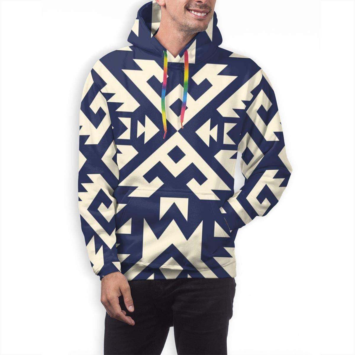 Mens Hoodie Tribal Navajo Vector Seamless Pattern Aztec Fancy Abstract Geometric Sweatshirt