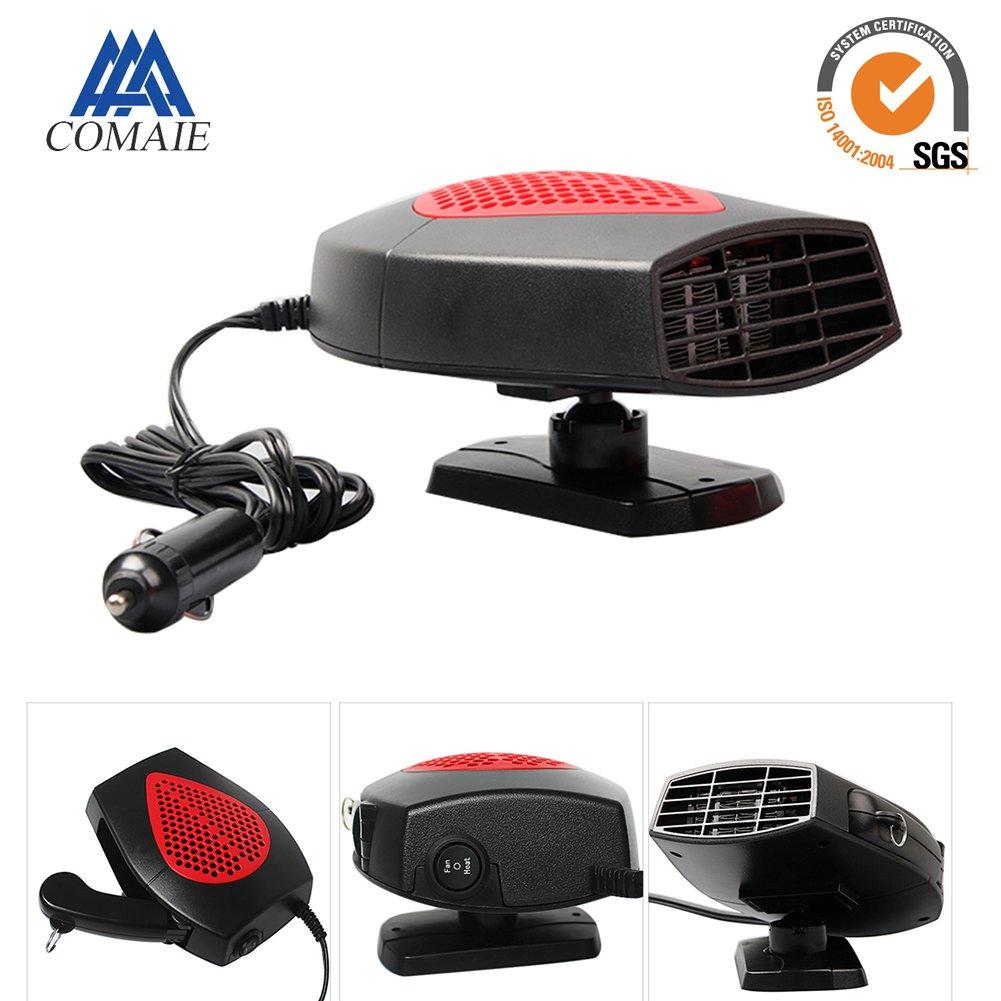 Termoventilatore e sbrinatore portatile per auto da 12 V, con manico estraibile, base girevole a 360 gradi e attaccabile al veicolo, Plug and Play Gray kaersishop